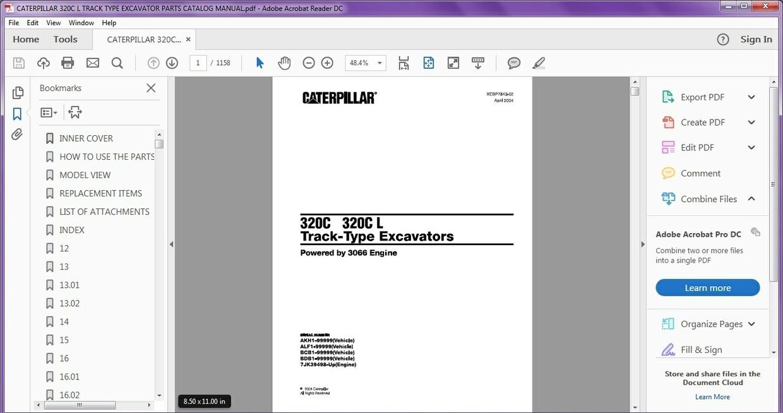 CAT CATERPILLAR 320CL TRACK TYPE EXCAVATOR PARTS CATALOG MANUAL PDF