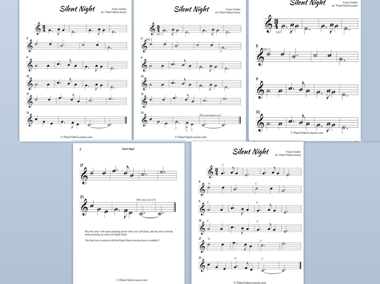Night for easy piano and easy chord piano silent night for easy piano and easy chord piano hexwebz Choice Image