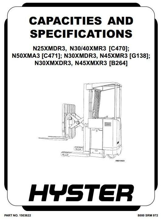 Hyster Electric Forklift Truck Type G138: N30XMDR3, N45XMR3 Workshop Manual