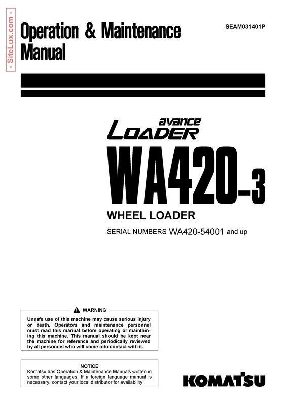 Komatsu WA420 avance Wheel Loader Operation & Maintenance Manual - SEAM031401P