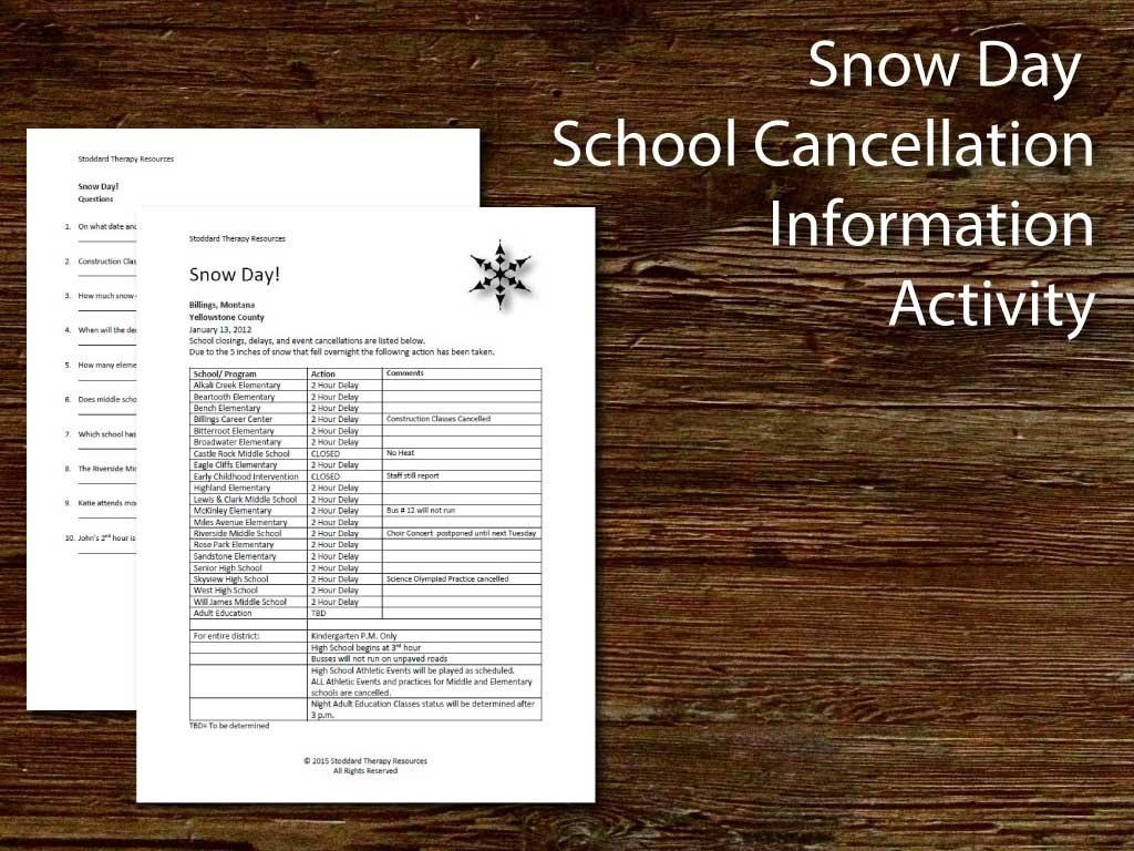 Snow Day! School Cancellation Info Rehabilitation Worksheet
