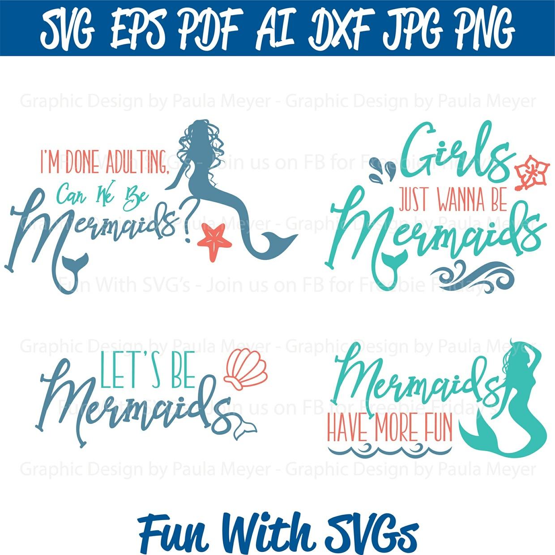 Mermaid SVG Set - SVG Cut File, High Resolution Printable Graphics and Editable Vector Art