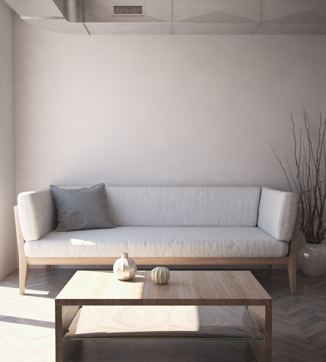 White Livingroom (Cinema4D + Vray)