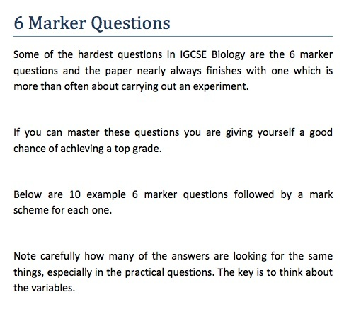 IGCSE Biology - 6 Marker Question Revision