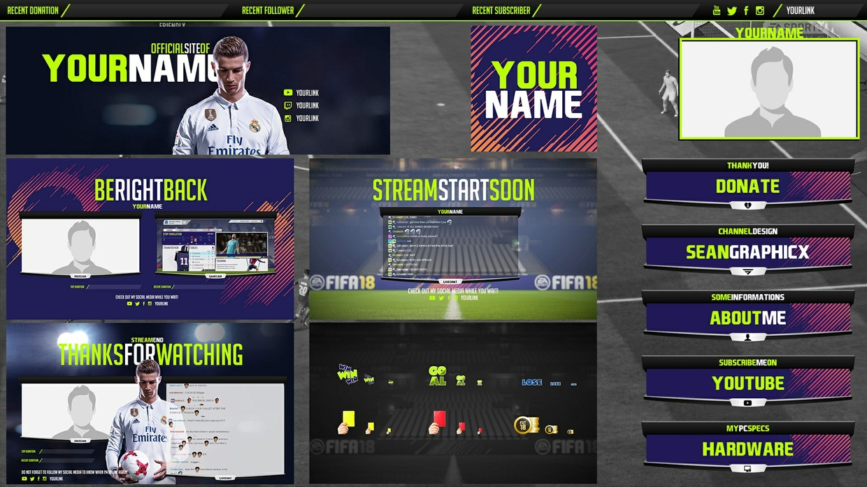 FIFA 18 Streampack Template | PSD