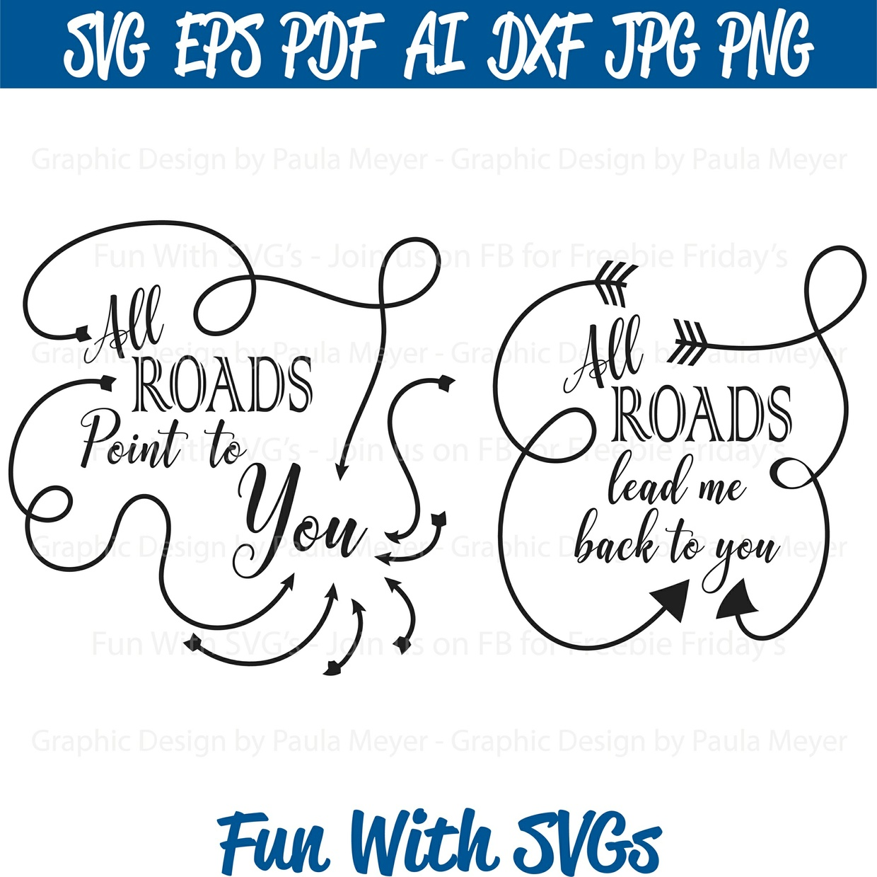 All Roads - SVG Cut File, High Resolution Printable Graphics and Editable Vector Art