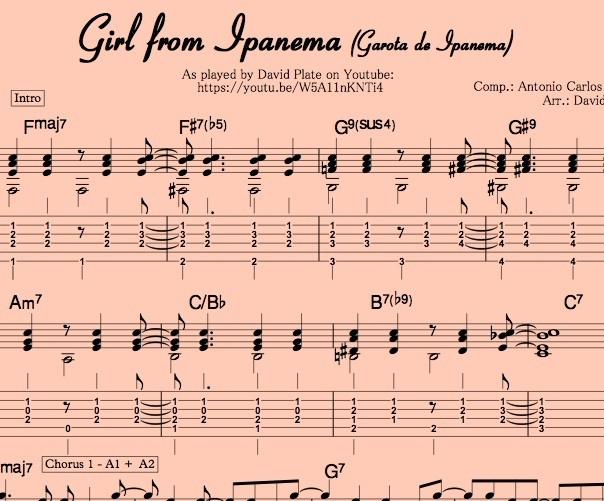 GIRL FROM IPANEMA (Garota de Ipanema) Guitar Arrangement by David Plate Score + TABs
