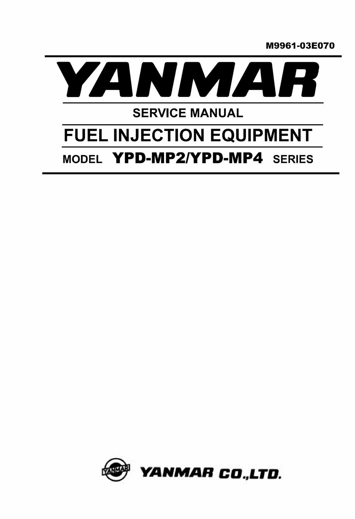 Yanmar Fuel Injection Equipment Model YPD-MP2 , YPD-MP4 Series Diesel Engine Service Repair Manual