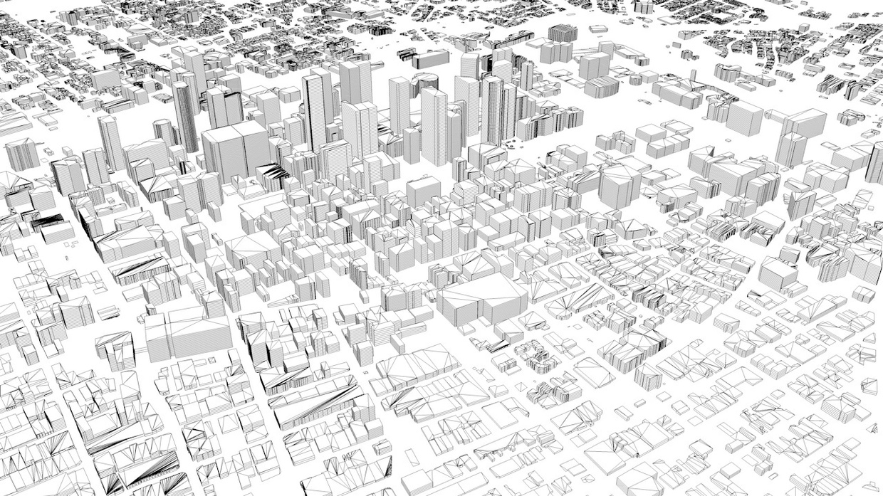 Los Angeles Downtown Streets and Buildings Architectural 3D Model
