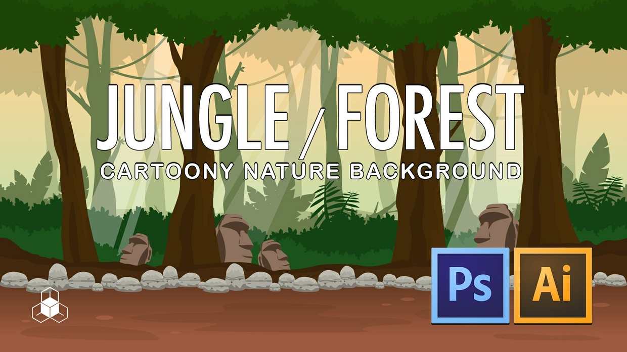 2D JUNGLE, FOREST - Cartoony Parallax Nature Background