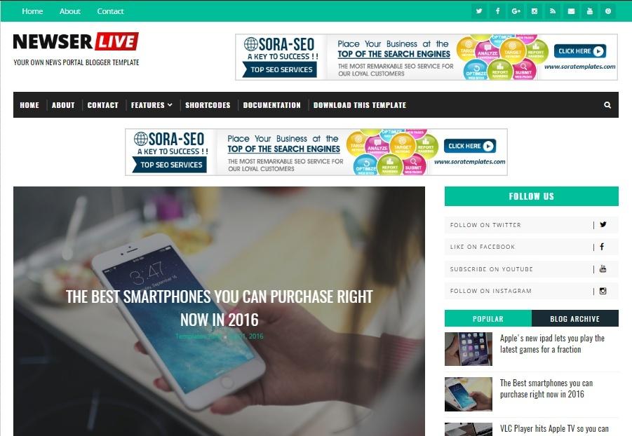 Newser Blogger Template Premium Version