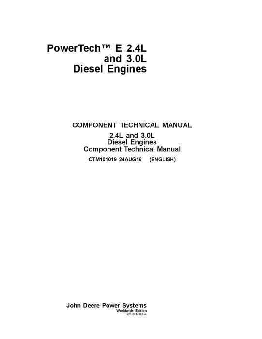Pdf Download John Deere Powertech E 2.4L and 3.0L Diesel Engines Technical Repair Manual CTM101019