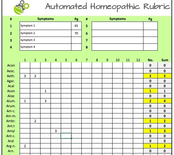 Automatic homeopathic rubric
