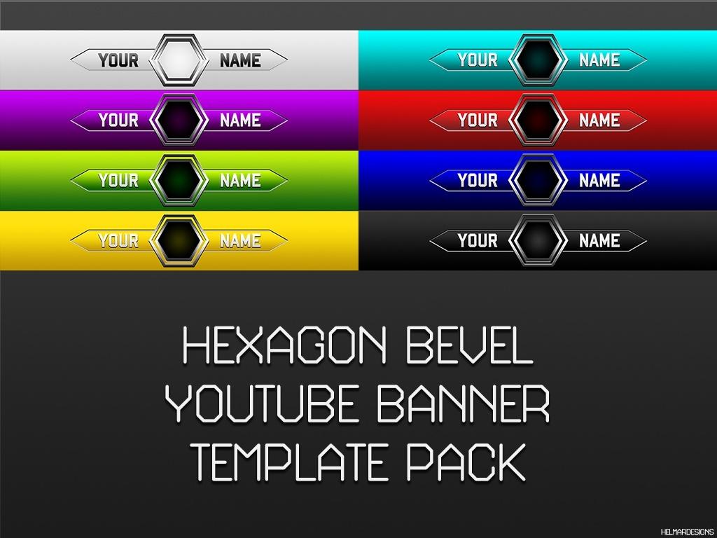 Hexagon Bevel YouTube Banner Template Pack