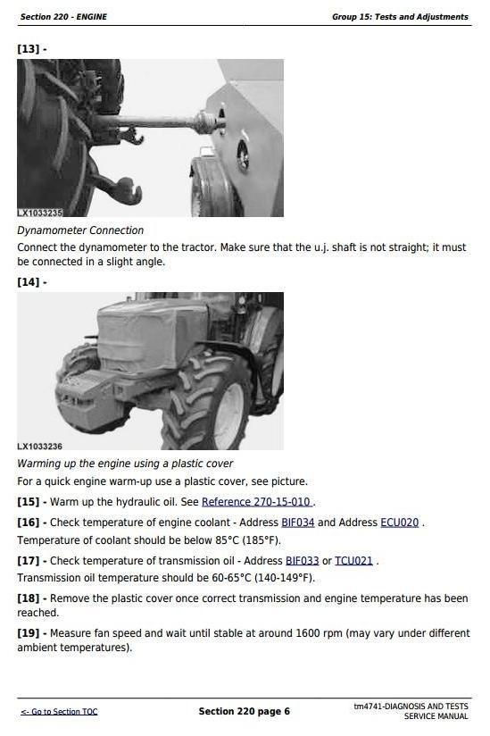 John Deere 6020, 6120, 6220, 6320, 6420, 6520, 6620, 6820, 6920 Tractors Diag & Tests Service Manual