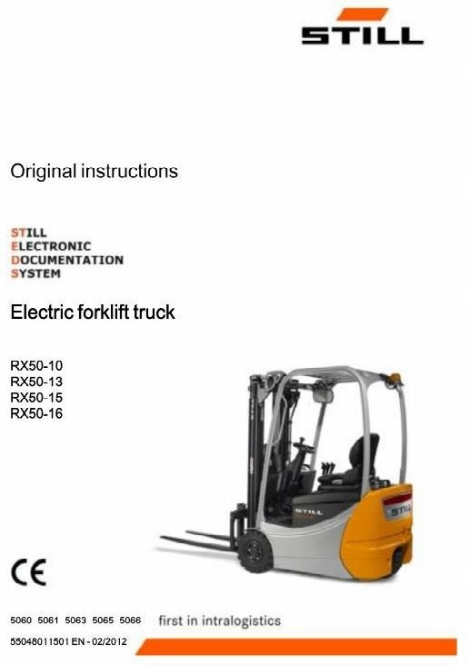 Still Forklift Truck Type RX50-10,RX50-13,RX50-15,RX50-16: 5060, 5061, 5063, 5065, 5066 user manual