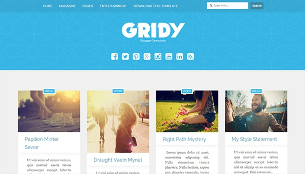 Gridy Blogger Template Premium Version