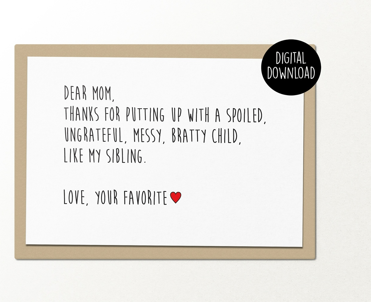 Dear mom mothers day printable greeting card