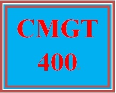 CMGT 400 Week 1 Individual: Introduction to Security and Risk Management