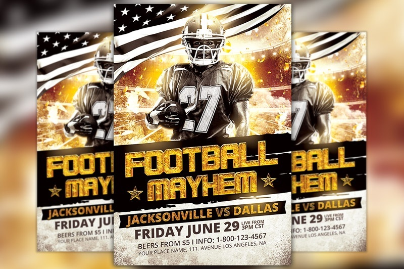 Football Mayhem Flyer Template  Awesomeflyer  SellfyCom