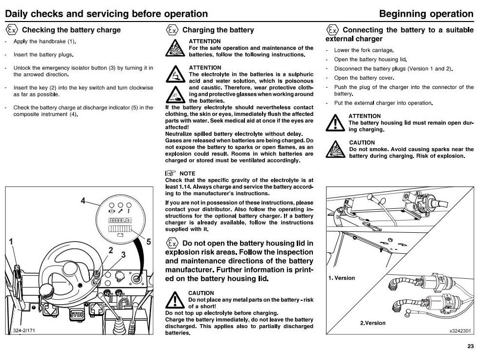 Linde Fork lift Truck 324-02 series E15-02, E16-02 (exAtex) Operating Instruction (User manual)