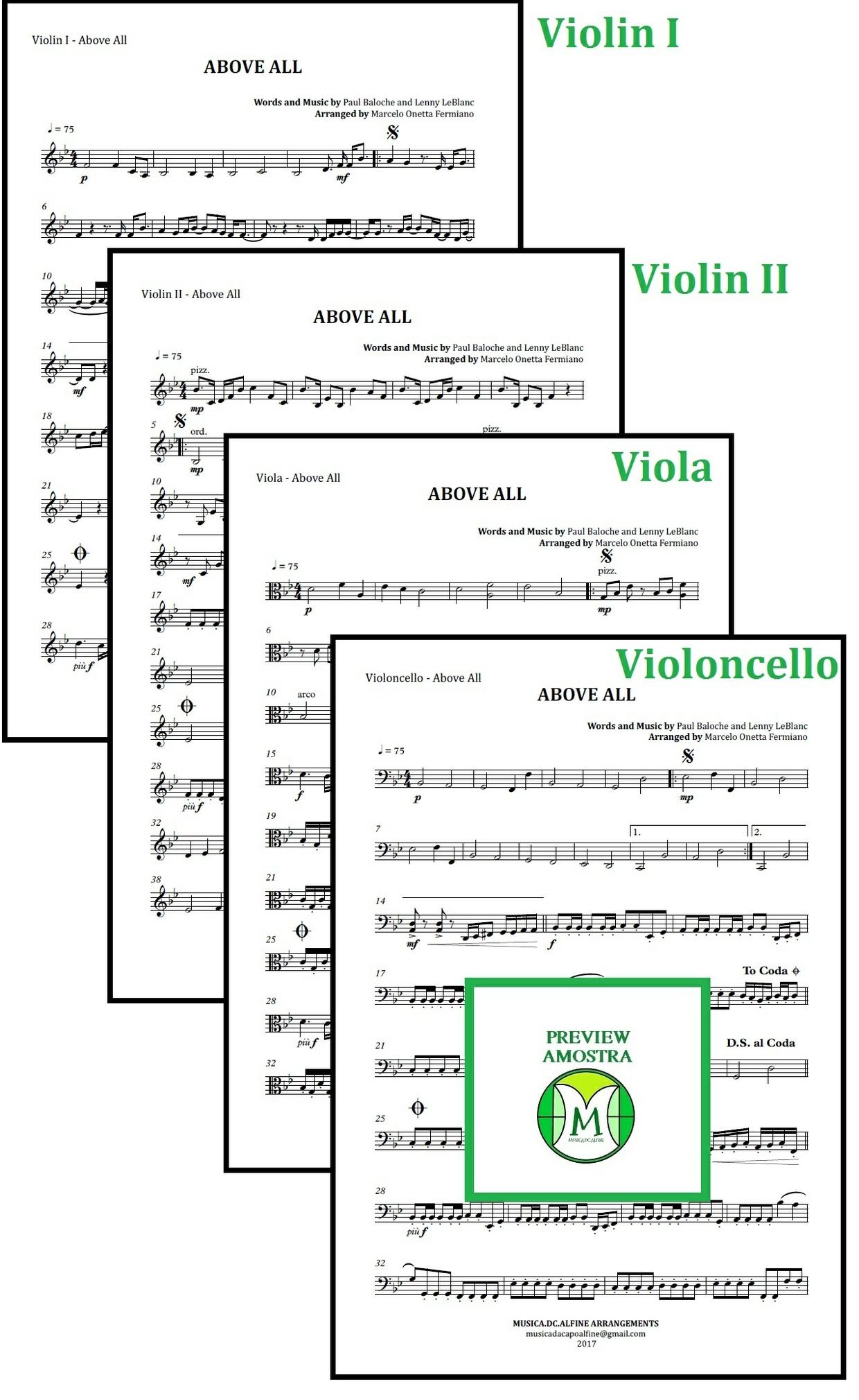 Above All   Michael W. Smith   Quarteto de Cordas   Partitura Completa Download
