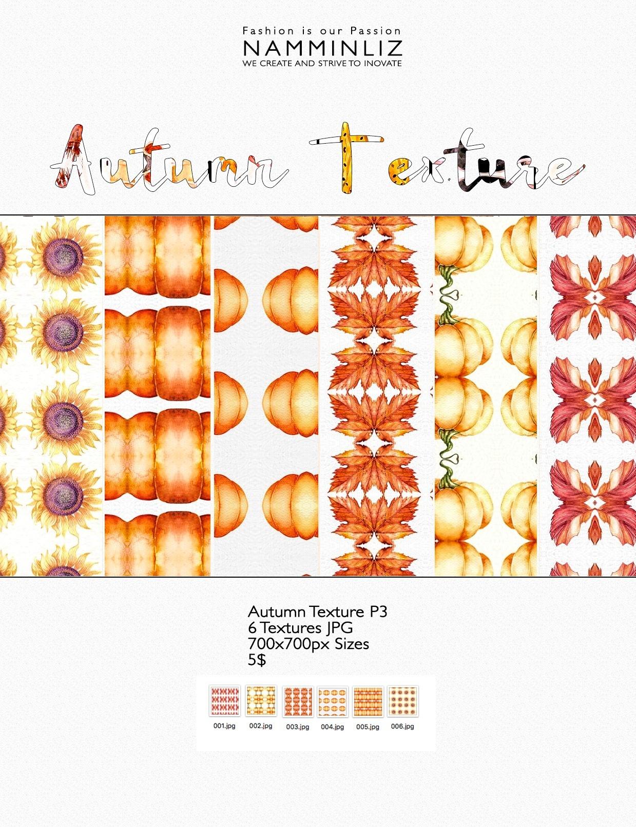Autumn Texture Full, P1, P2, P3 -  18 Textures JPG 700x700px