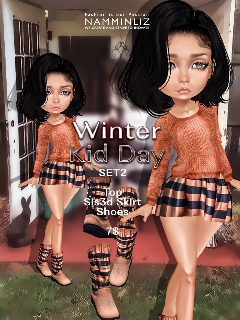 Winter Kid Day  Set2 ( Pants + Shoes ) JPG textures NAMMINLIZ file sale