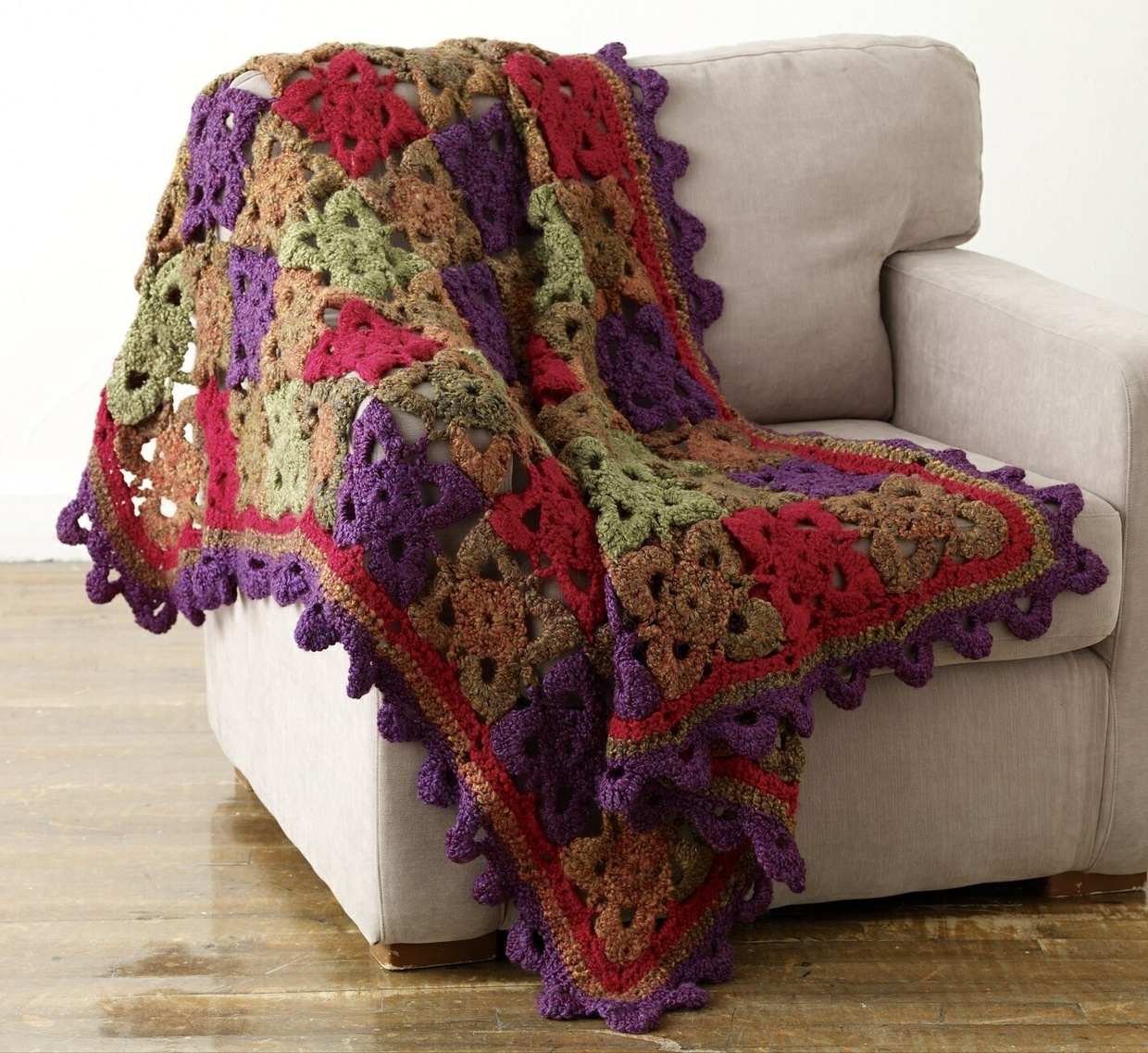 Crochet Flower Throw