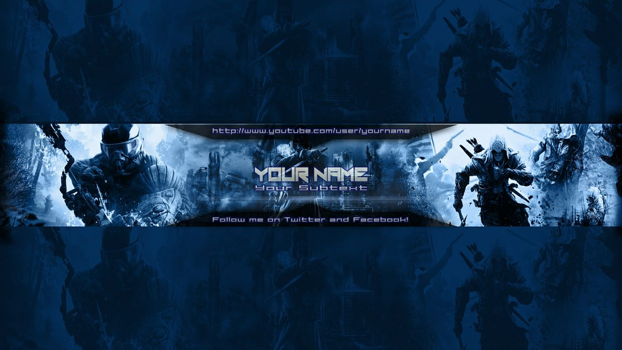 YouTube Banner Template - Blue (Customizeable)
