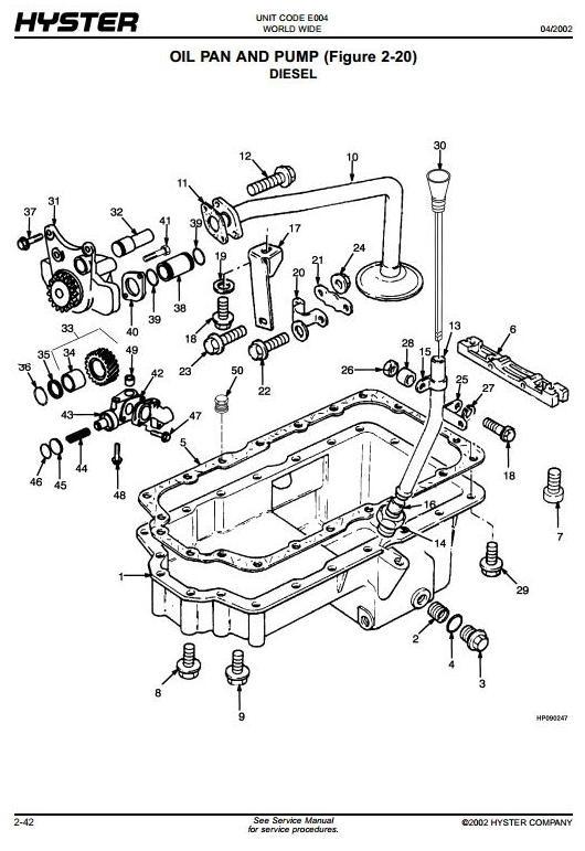 Hyster Diesel, LPG Forklift Truck E004 Series: S3.50XM, S4.00XM, S4.50XM, S5.50XM Spare Parts List