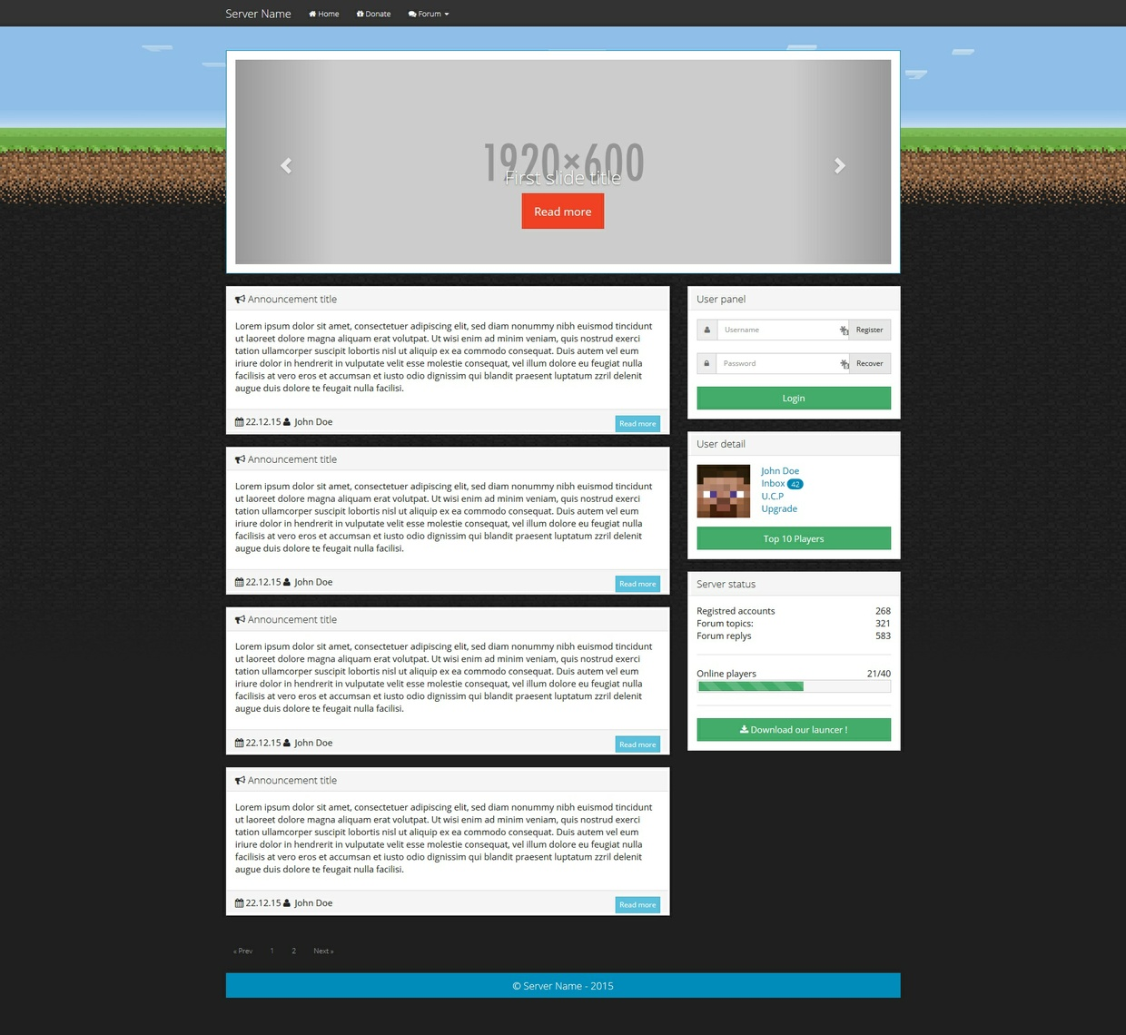 Minecraft Server Bootstrap HTML Template