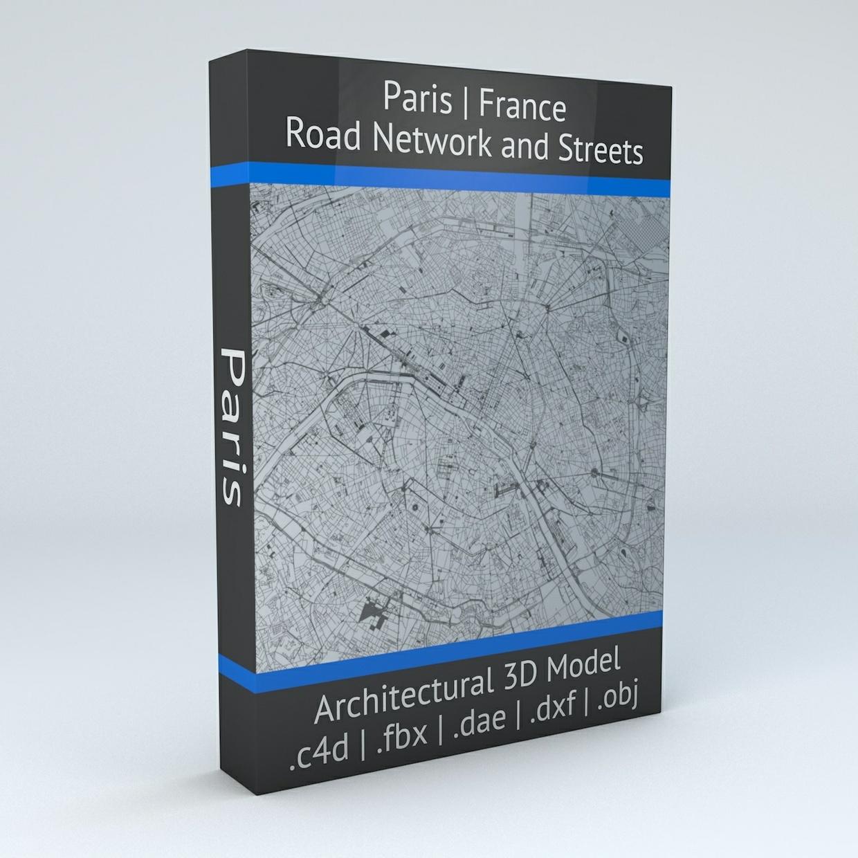 Paris Road Network Architectural 3D Model