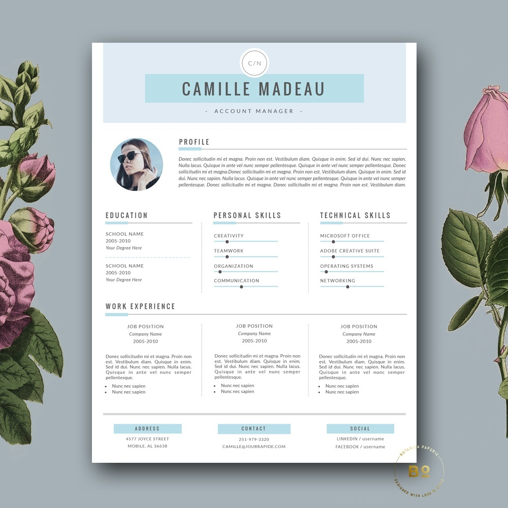 CV Template | Modern Resume Template + FREE Cover Letter For MS Word And  IWork Pages ...