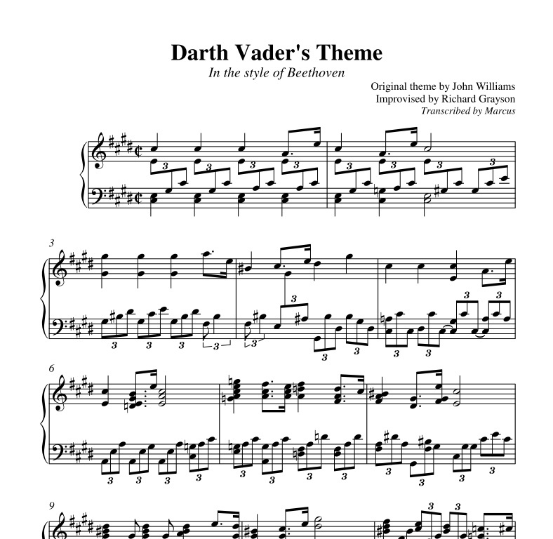 Richard Grayson - Darth Vader's Theme in the style of Beethoven (Piano sheet music)