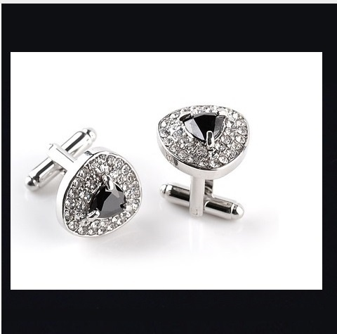 B Royal Designs Crystal and Black Cufflinks