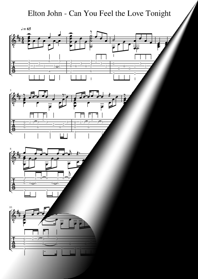 All Music Chords can you feel the love tonight sheet music : You Feel the Love Tonight (Sheet Music + TAB)
