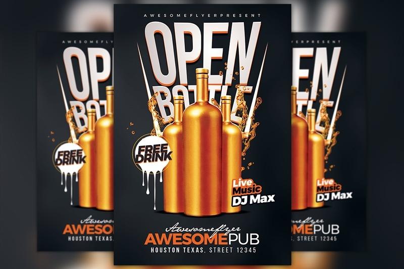 Open Bottle Flyer Template