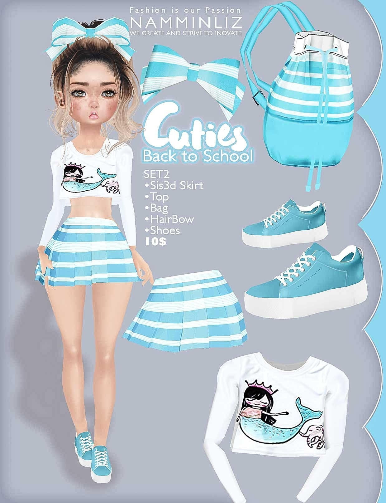 Cuties Back to School SET 2 ( Top + Skirts + Shoes + Accesories + Bag)