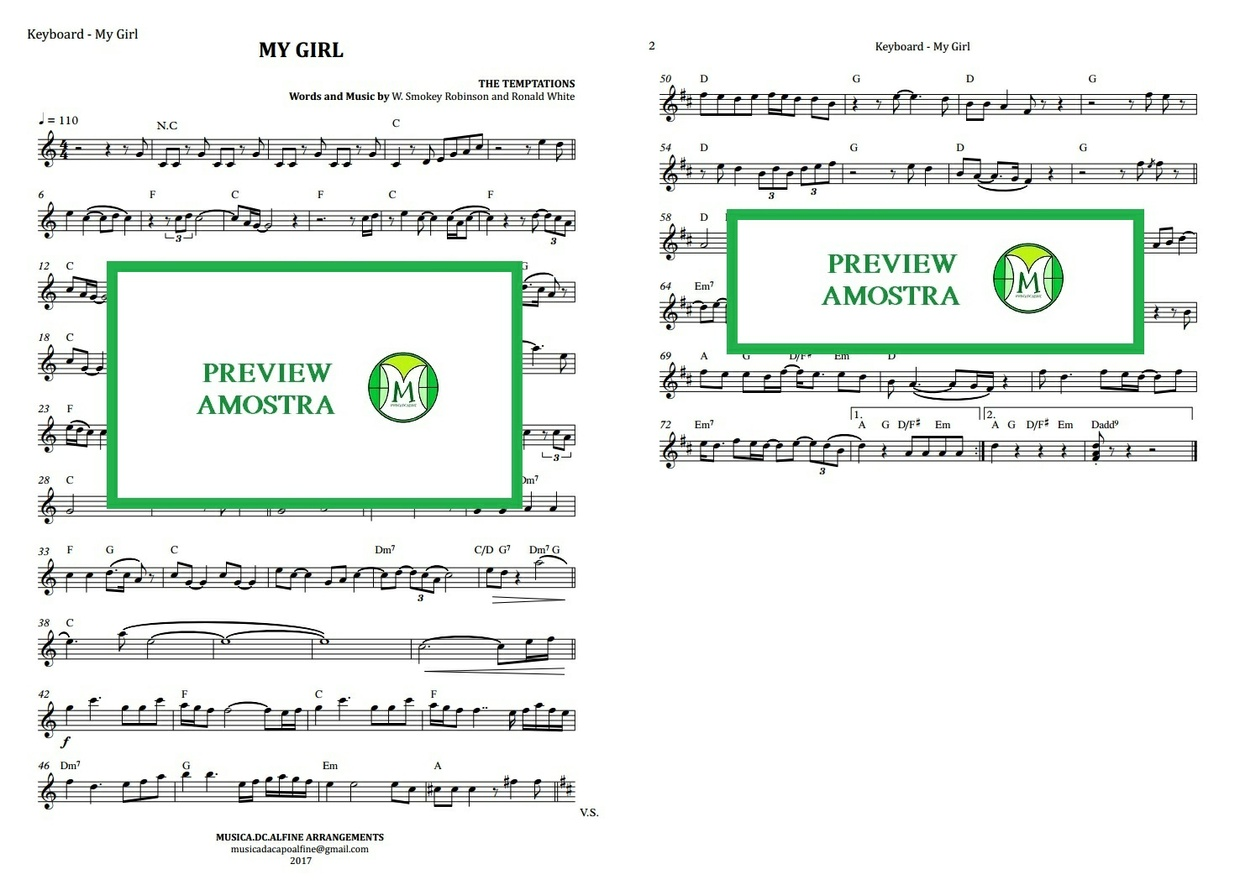 My Girl | The Temptations | Keyboard or Violin | Sheet Music Download