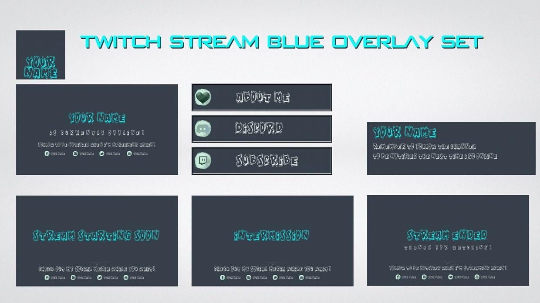 Twitch Stream Blue overlay set
