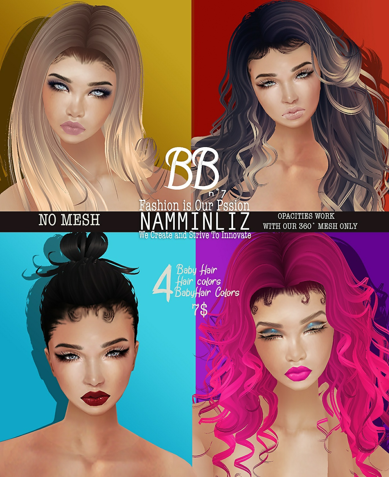 BBn˚7  4 Baby Hair style +baby Hair Colors + Hair Textures No Mesh