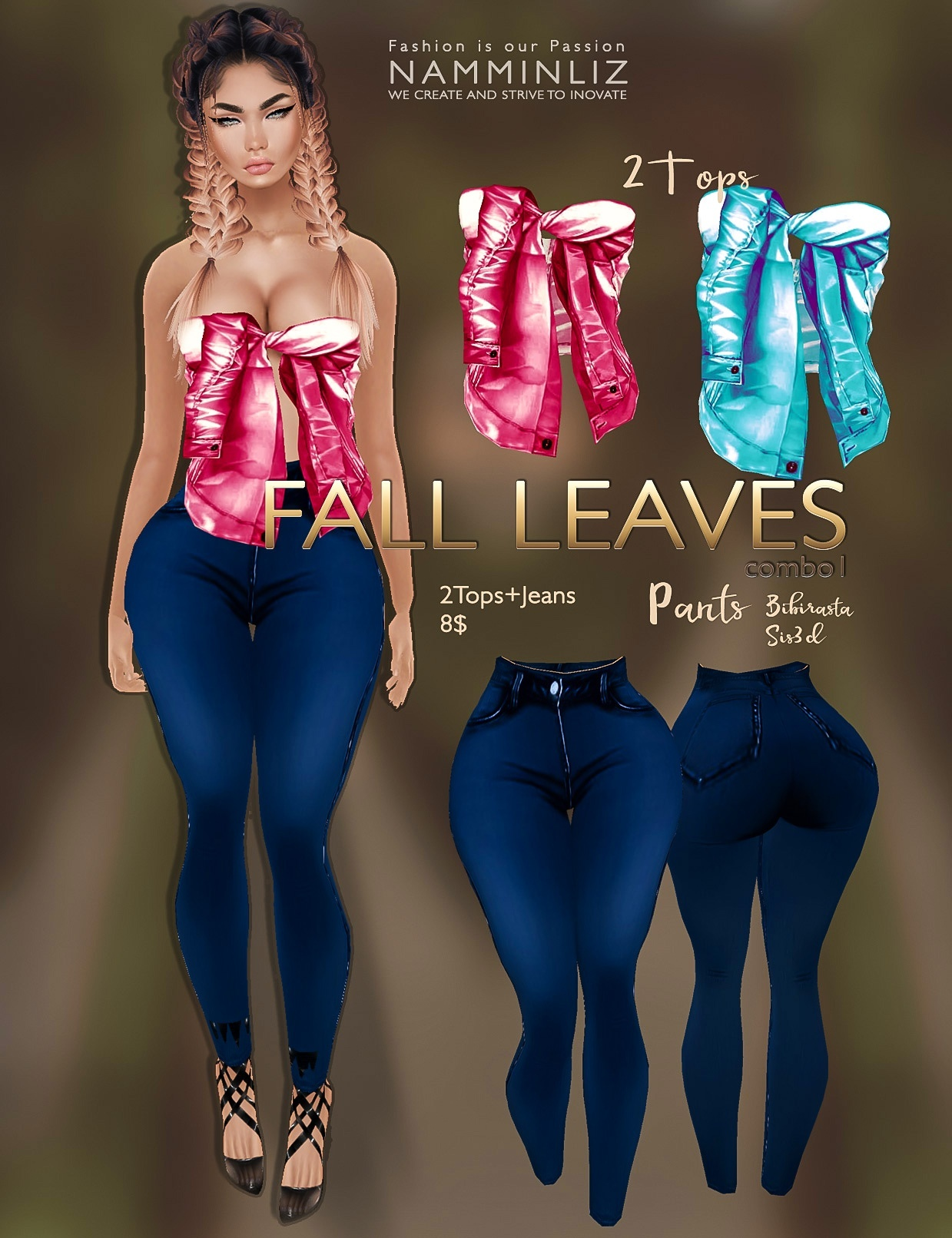 Fall Leaves Full combo imvu texture JPG ( 4 Tops, 4 Jeans Bibirasta & Sis3d )