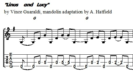Linus and Lucy mandolin tab arrangement as played by Andy Hatfield