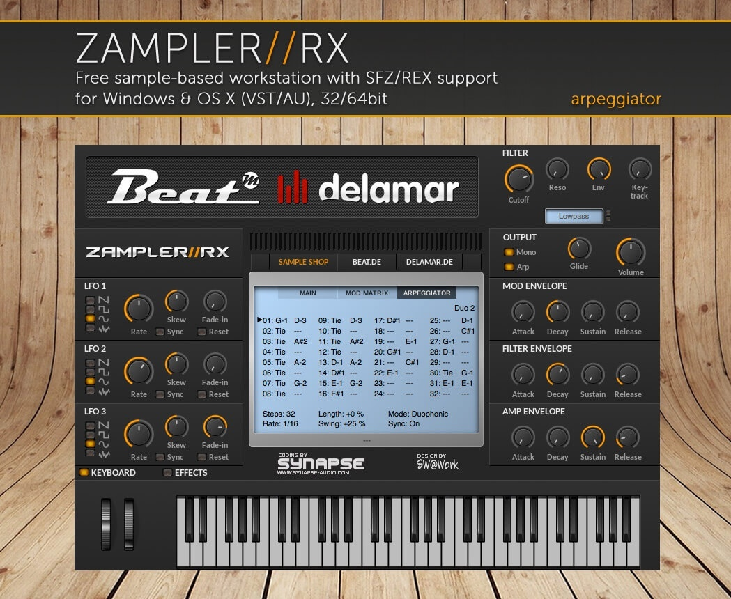 SYNTHSTUFF - Bass & lead sound bank for Zampler//RX workstation (Win/OSX plugin included)