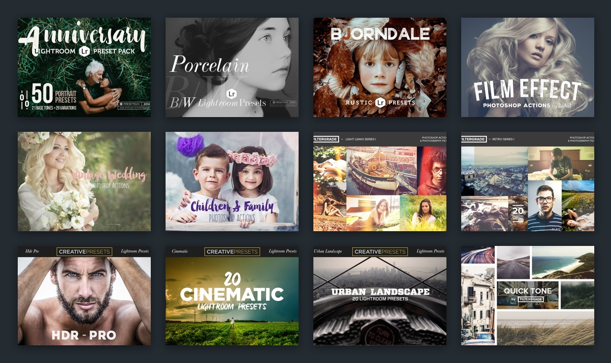 Photography Bundle: 354 Photoshop Actions and 247 Lightroom Presets
