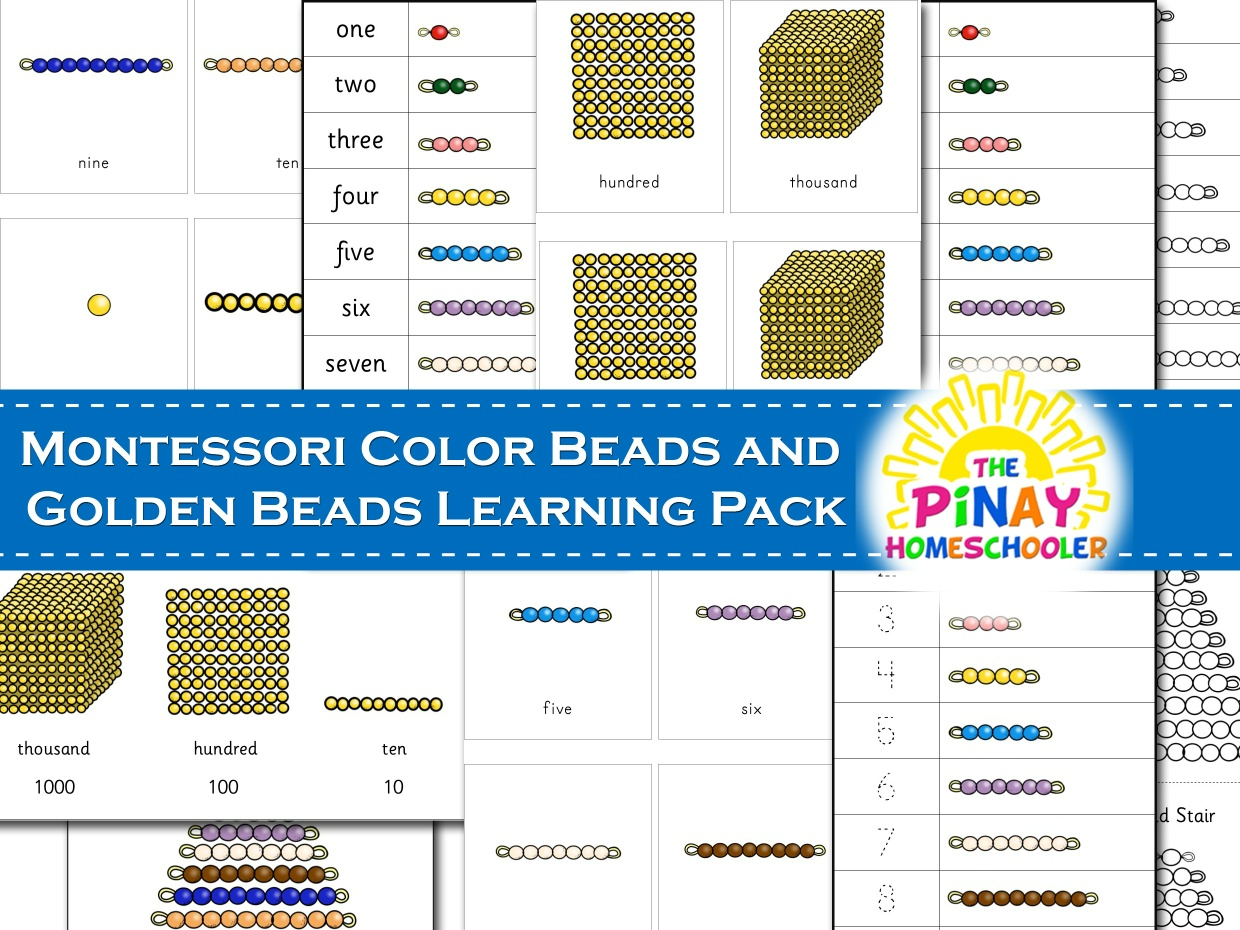 Montessori Color Beads and Golden Beads Learning Pack