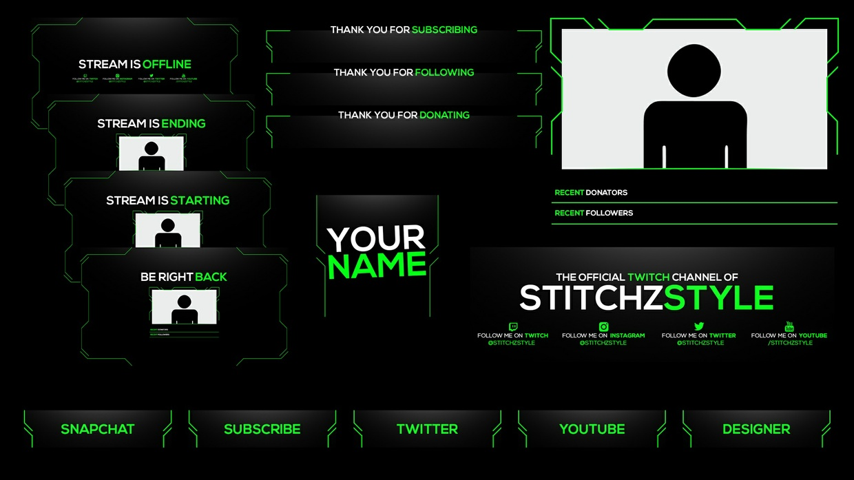 Black and Green Twitch Stream Rebrand and Overlay Photoshop Template Pack