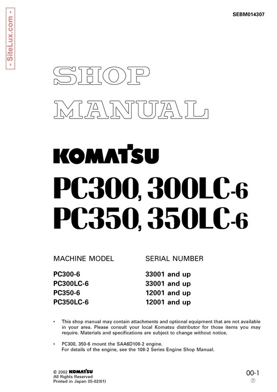 Komatsu PC300-6, PC300LC-6, PC350-6, PC350LC-6 Hydraulic Excavator Shop Manual - SEBM014307