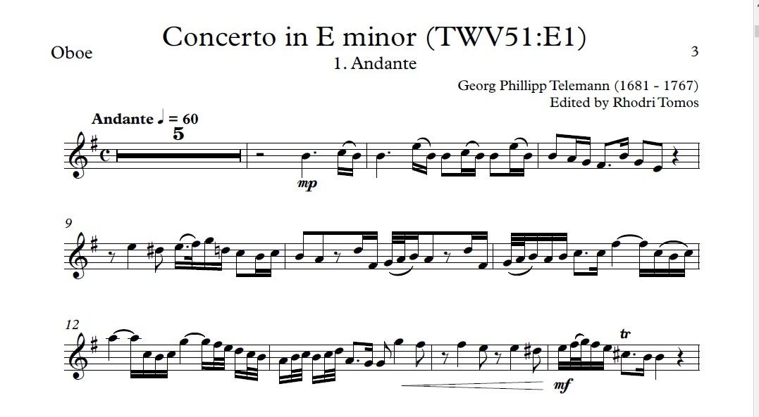 Telemann TWV51:E1 Concerto in E minor accompaniment mp3 and solo sheet music pdf